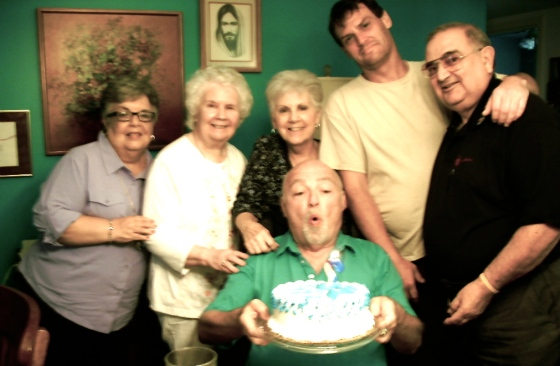 "happy b'day to me with augie and, er, ""old"" friends in my home"