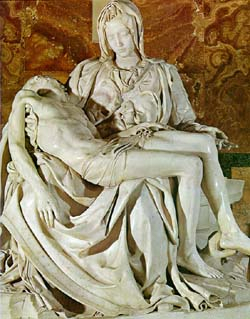The Sorrowful Mother (The Pieta) – Michelangelo – in the millennial year of 1500 when he was 24 years old