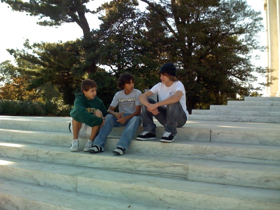 Thirteen year olds on the steps of the Jefferson Memorial