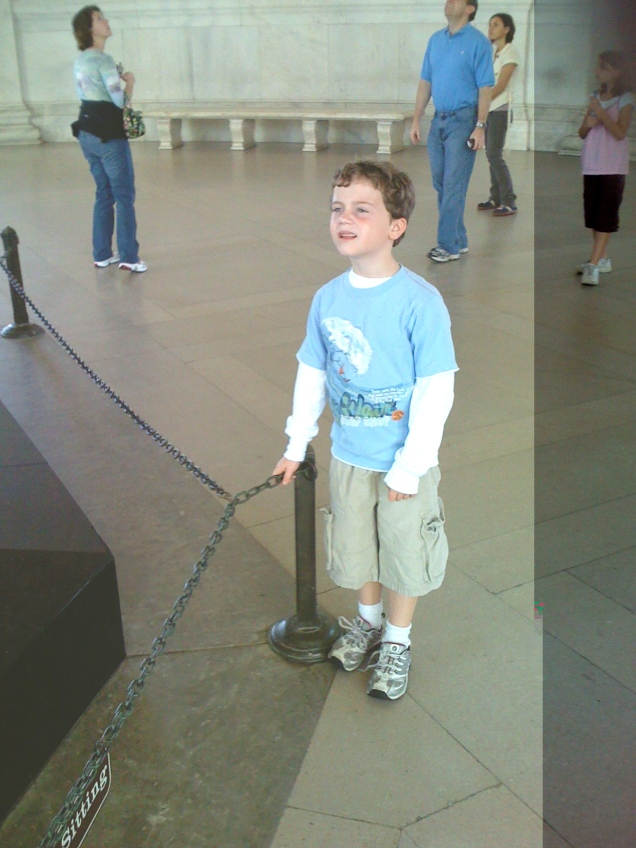 This little guy is enthralled by the word of Thomas Jefferson emblazoned on the walls of the Jefferson Memorial