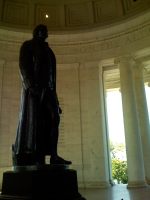 Thomas Jefferson just to the left of the boy