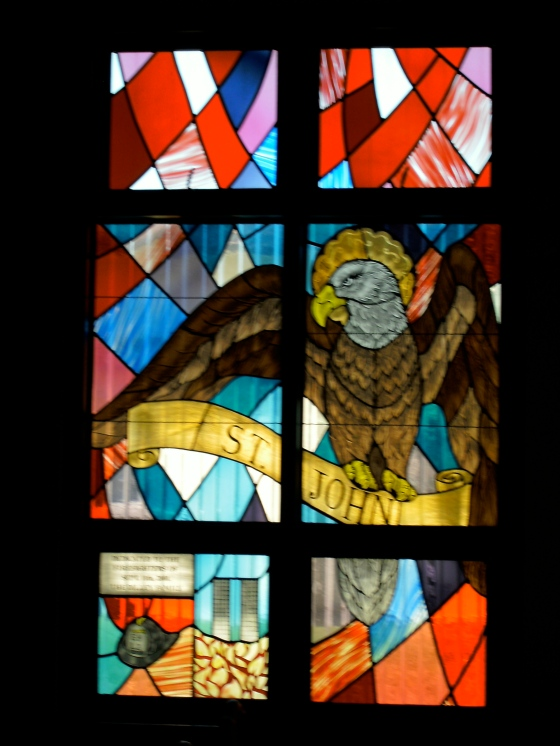 The symbol for St. John is the eagle because he soars to the heights of mystical love