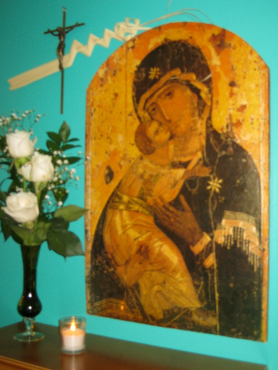 """an image of Vladimir's famous icon """"Our Lady of Tenderness"""" in my home"""