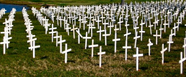 Taken in St. Augustine, Florida in February 2007. Each cross represents 1 million unborn children. Image taken by Bob Traupman.