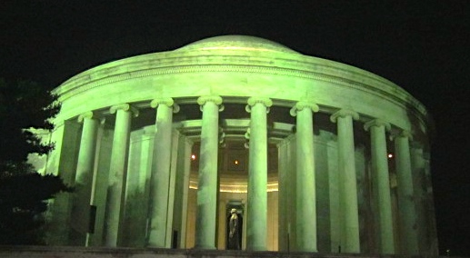 The Jefferson Memorial at Night; the statue of Jefferson faces the White House.